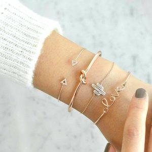 Jewelry - BOHO golden Bracelet Set love cactus